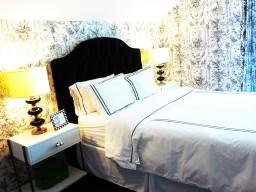 Guest room: Miles Talbot Black Velvet headboard