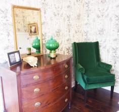 Antique chest and Miles Talbott Emerald velvet wingback chair