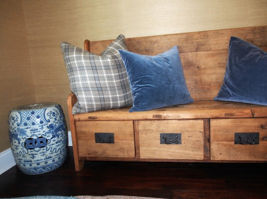 Foyer detail of Dovetail bench and custom pillows
